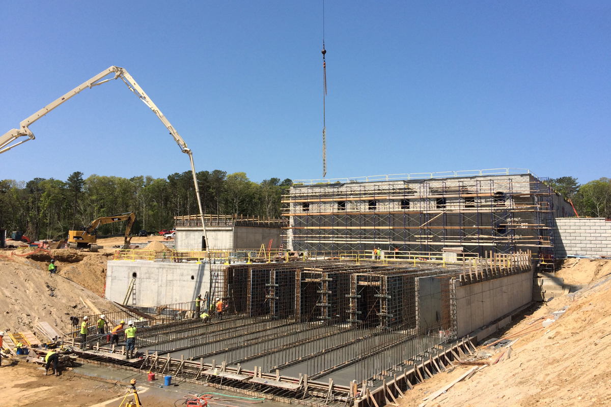 Progress photo of the project team constructing the Long Pond Treatment Plant