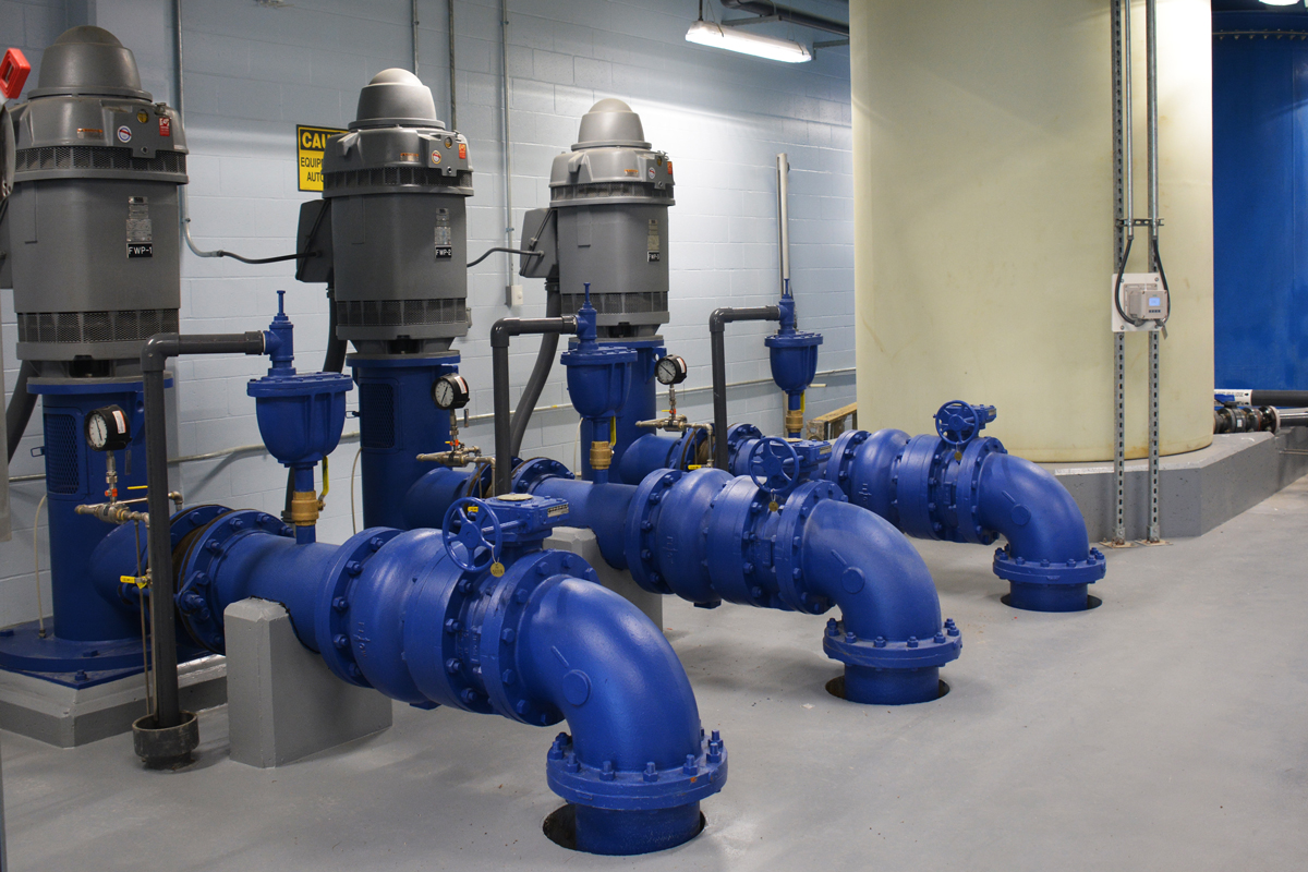 Vertical turbine pumps installed in the finished Long Pond Water Treatment Plant