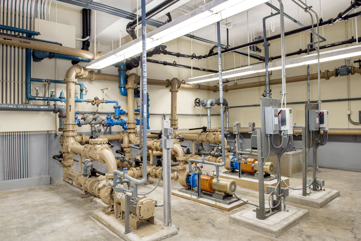 New sludge pump installation in the main treatment building