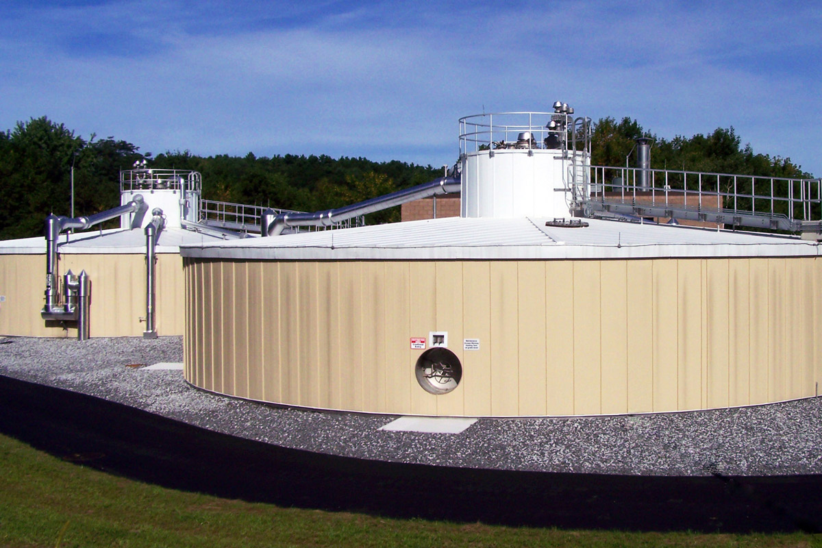 Finished anaerobic digesters at the Lewiston, Maine CHP facility