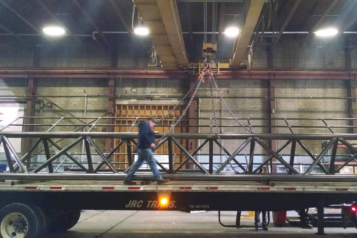 Loading one of the gangways for shipping