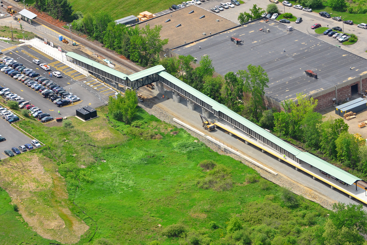 The completed MBTA commuter rail station in Littleton, MA