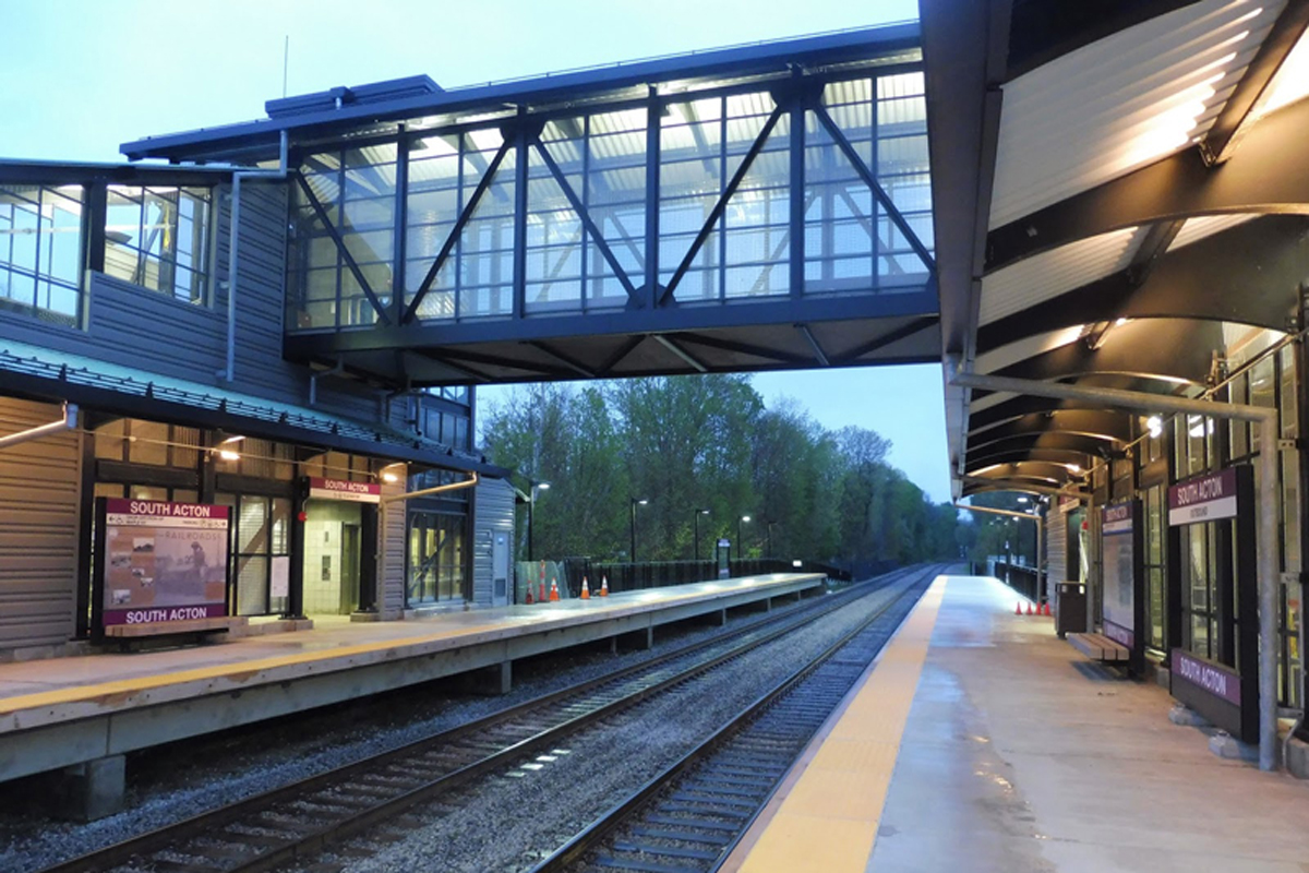 The pedestrian bridge, fabricated and installed by the Summit Team, connects the inbound and outbound platforms