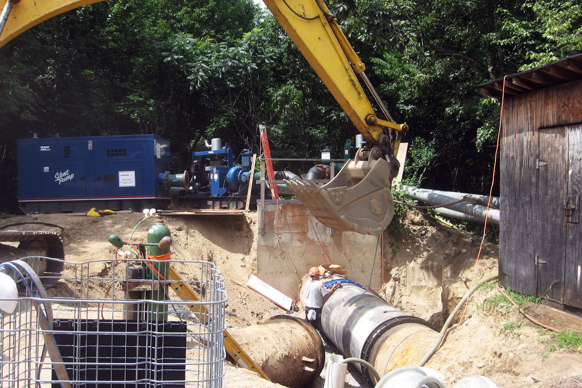 Excavation and installation of the by-pass piping