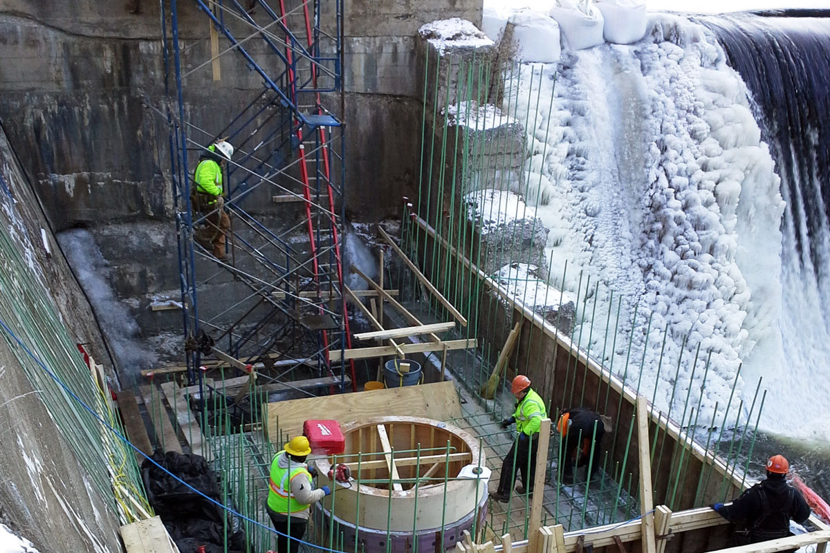 Winter work on the Glendale Dam rehabilitation in Stockbridge, MA