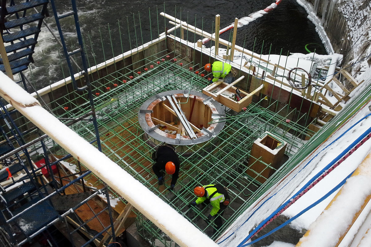 Preparing the base for the turbine install
