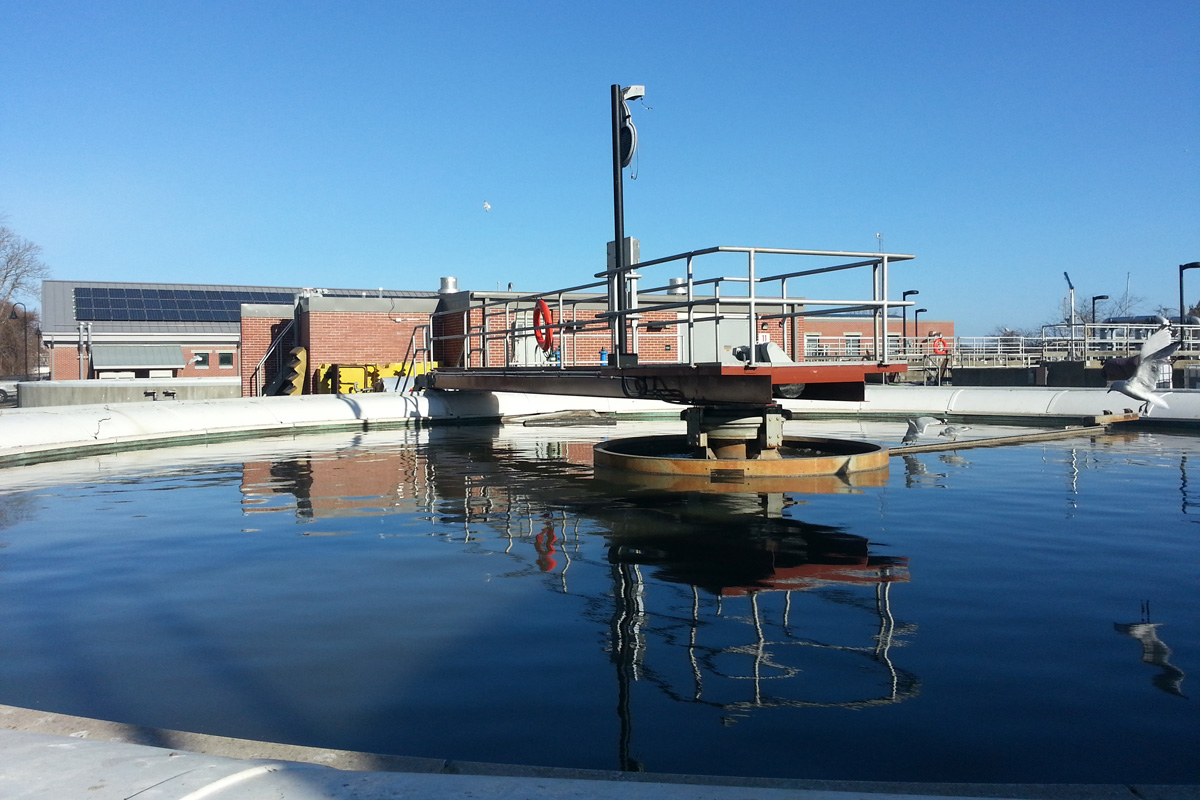 Existing clarifier at the Newburyport, MA wastewater treatment plant