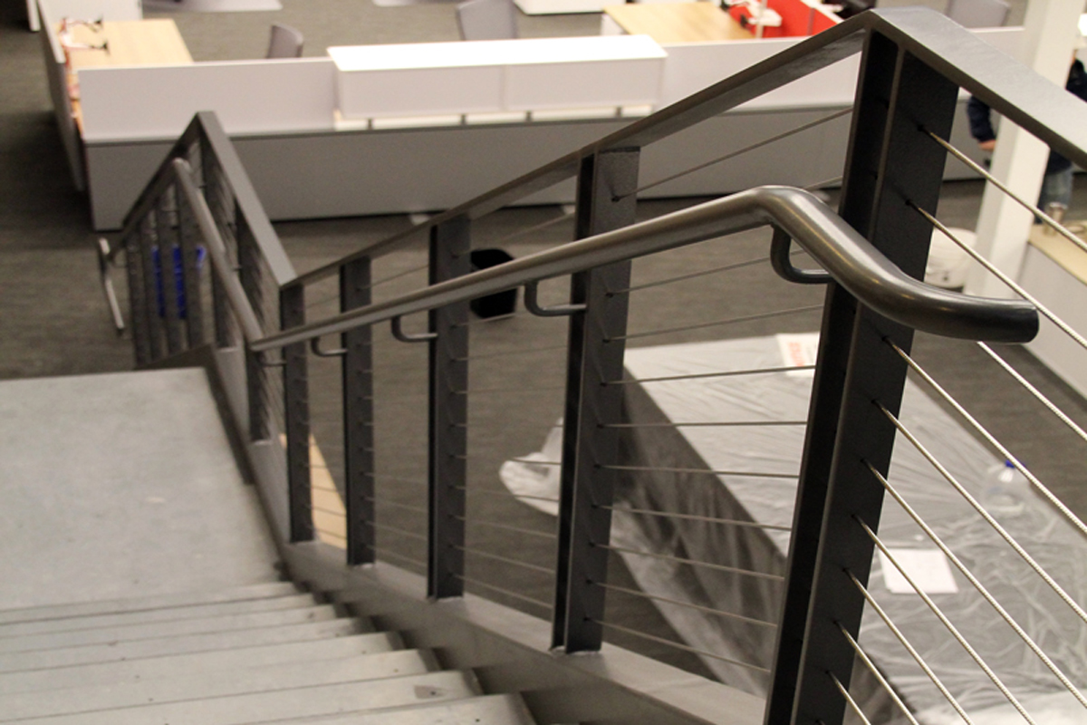 Cable steel railings on the ornamental staircase