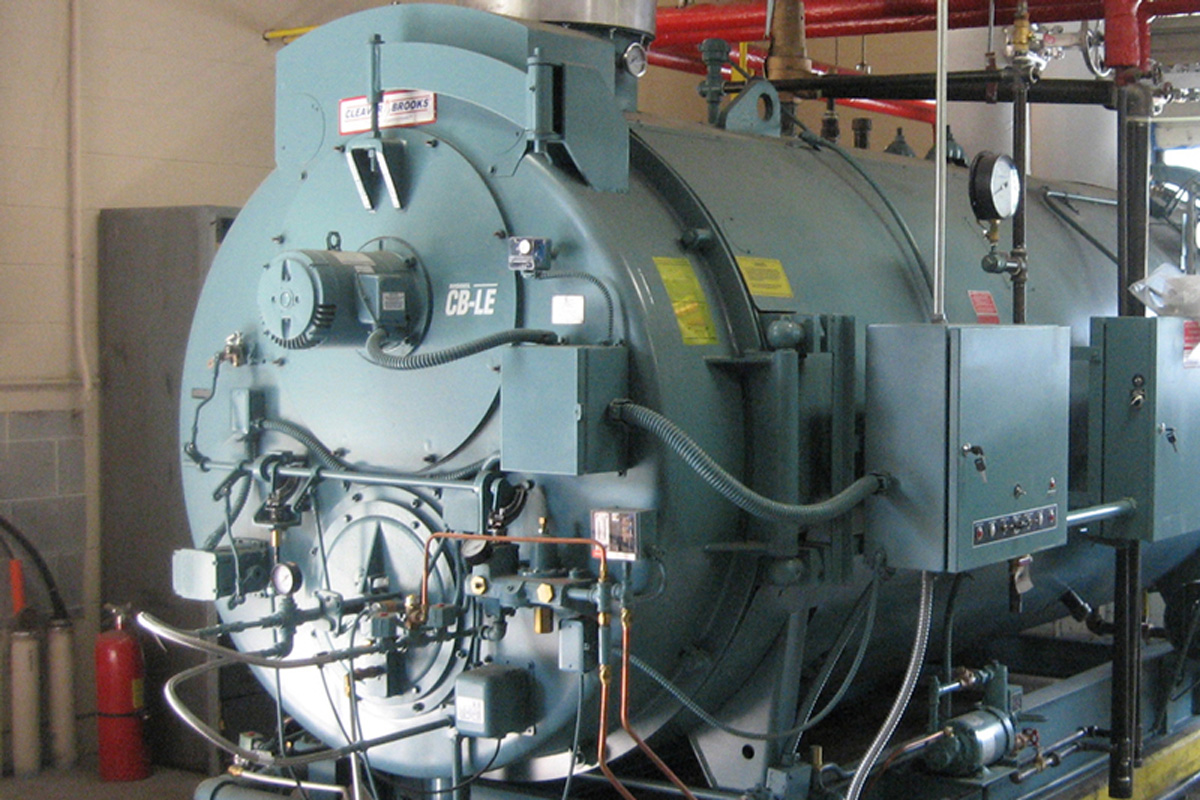 Front view of new boiler