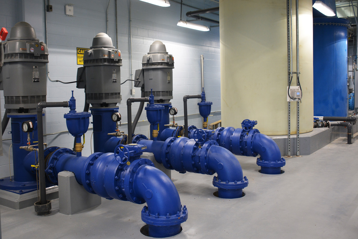 Vertical water pumps that are monitored by the automated control system