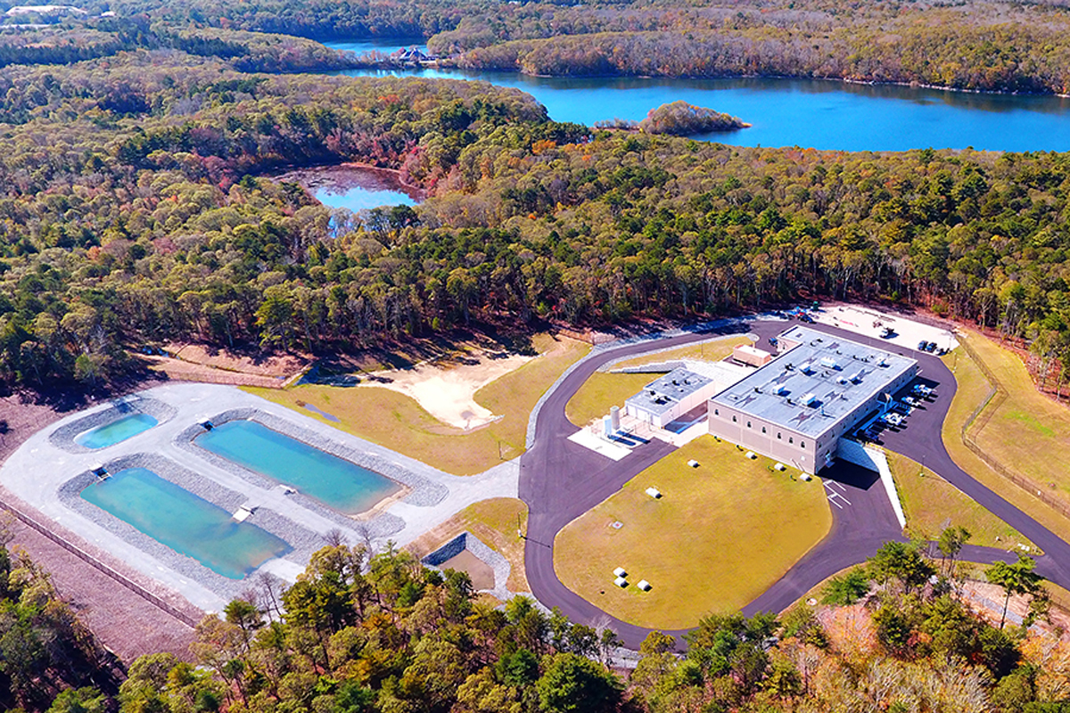 The completed Long Pond Water Treatment Plant in Falmouth, MA