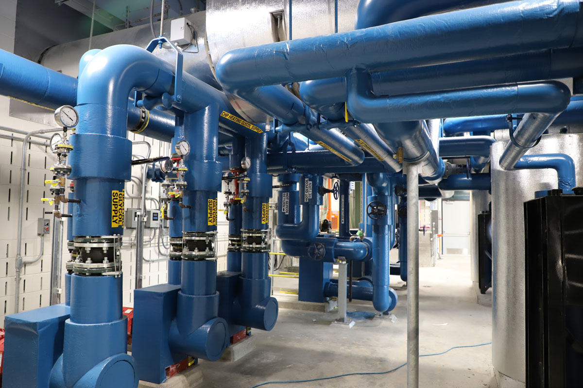 Some of the process piping and pumps that were installed as part of the GLSD project