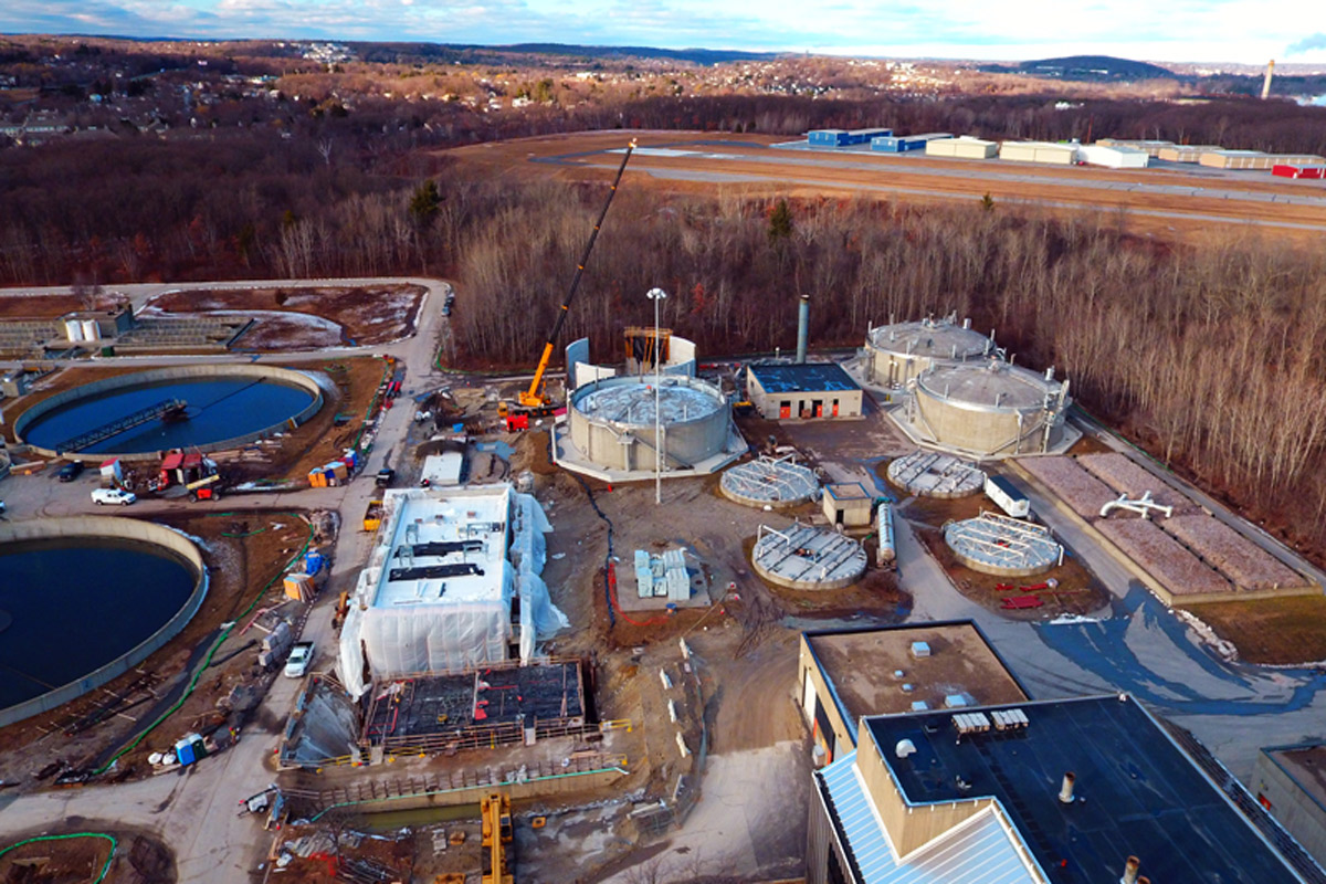 A view of the facility with the construction of the organics-to-energy project