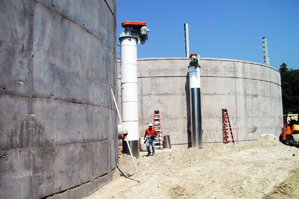 Progress photo of the anaerobic digesters being constructed