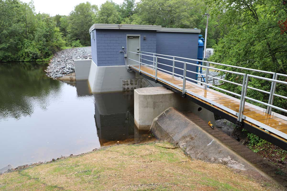 The finished pump station at the Luther Reservoir Dam in Attleboro, MA
