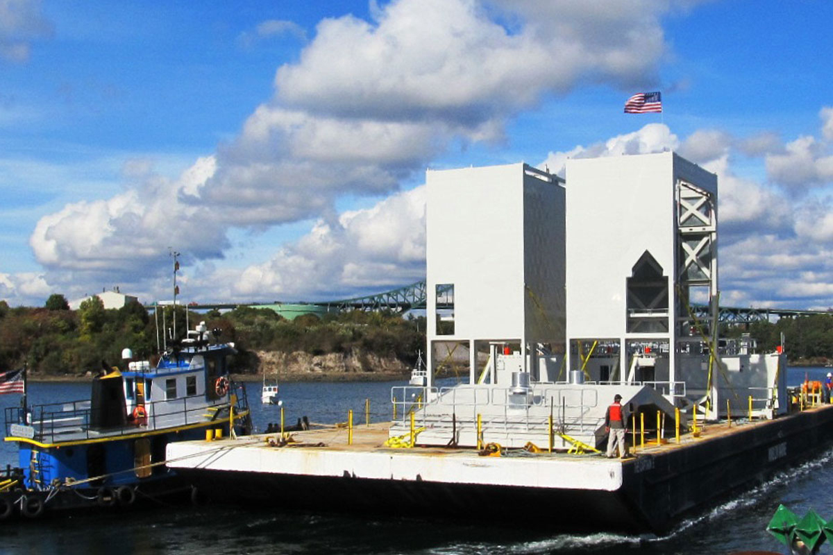 Maintenance Enclosures were transported via barge to the Naval Shipyard