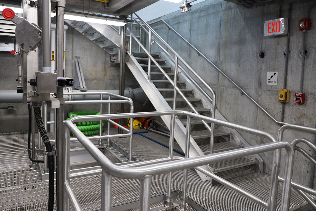 Aluminum stairs, railings, and gratings at the drywell mezzanine