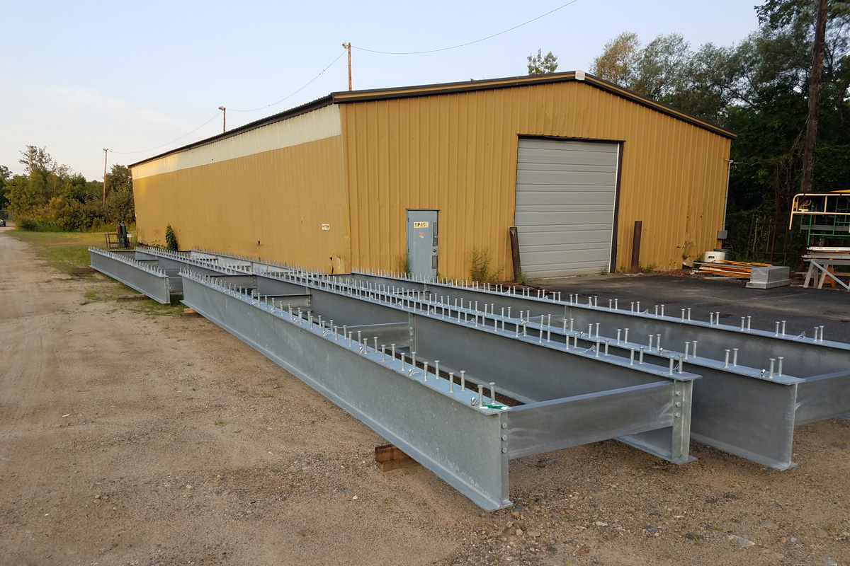 Structural steel platform frames delivered to the Noroton Heights Railroad Station