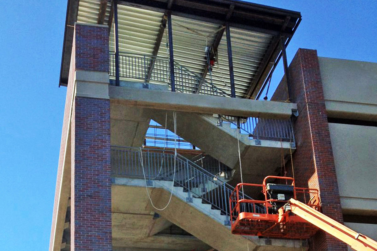More work on the parking garage stairwell