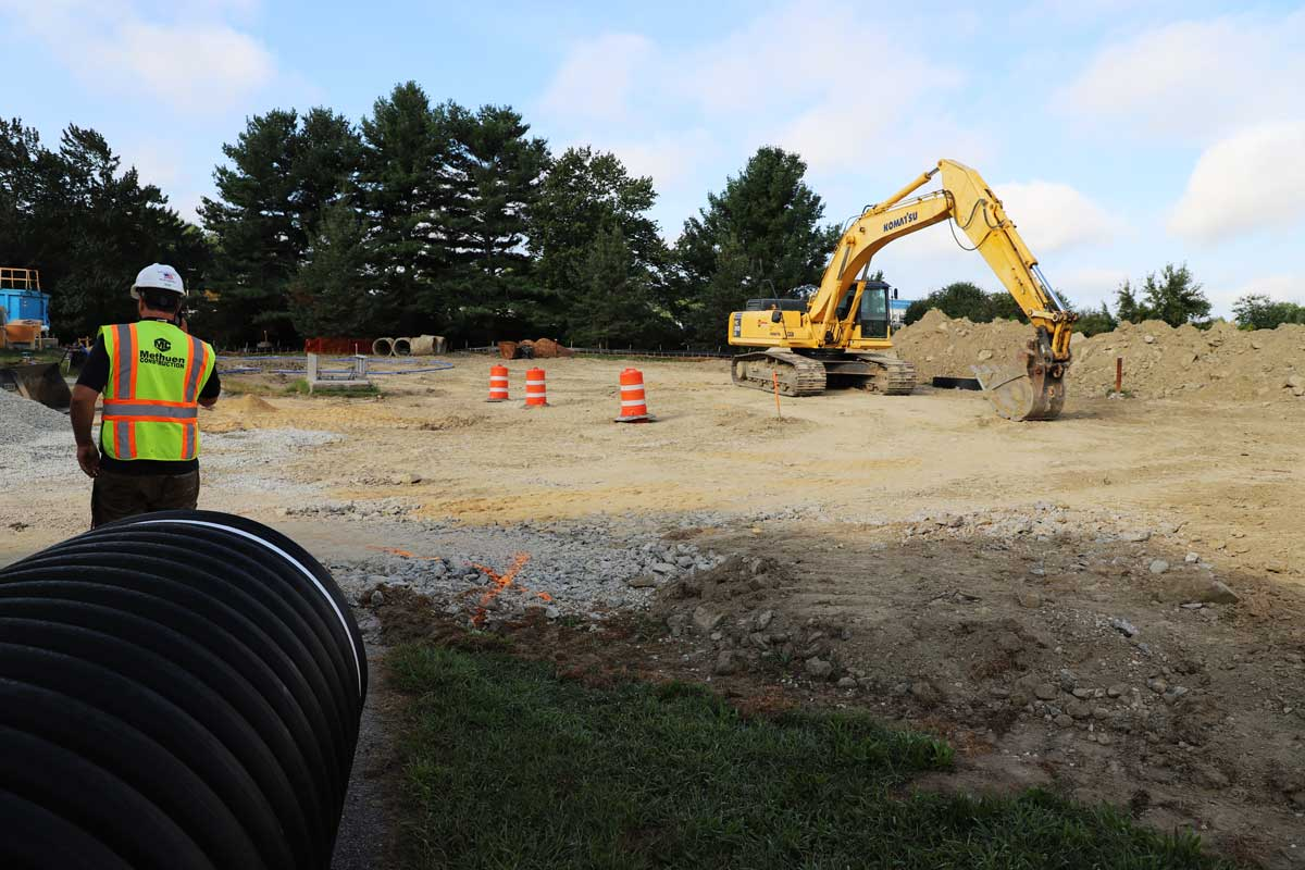 Excavating the area for the new headworks facility at the Pease wastewater treatment plant in Portsmouth, NH