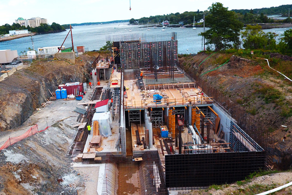 Construction progress photo of the biological aerated filter building