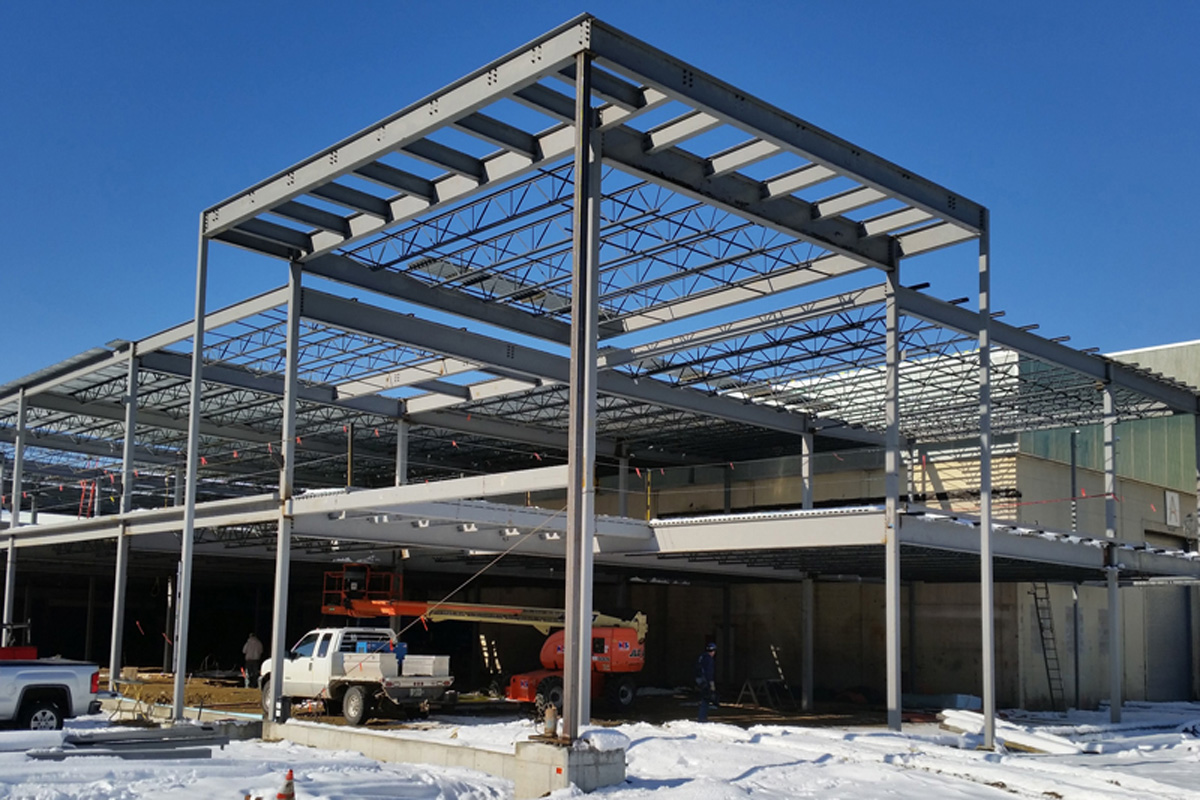 Structural steel framing for the office building