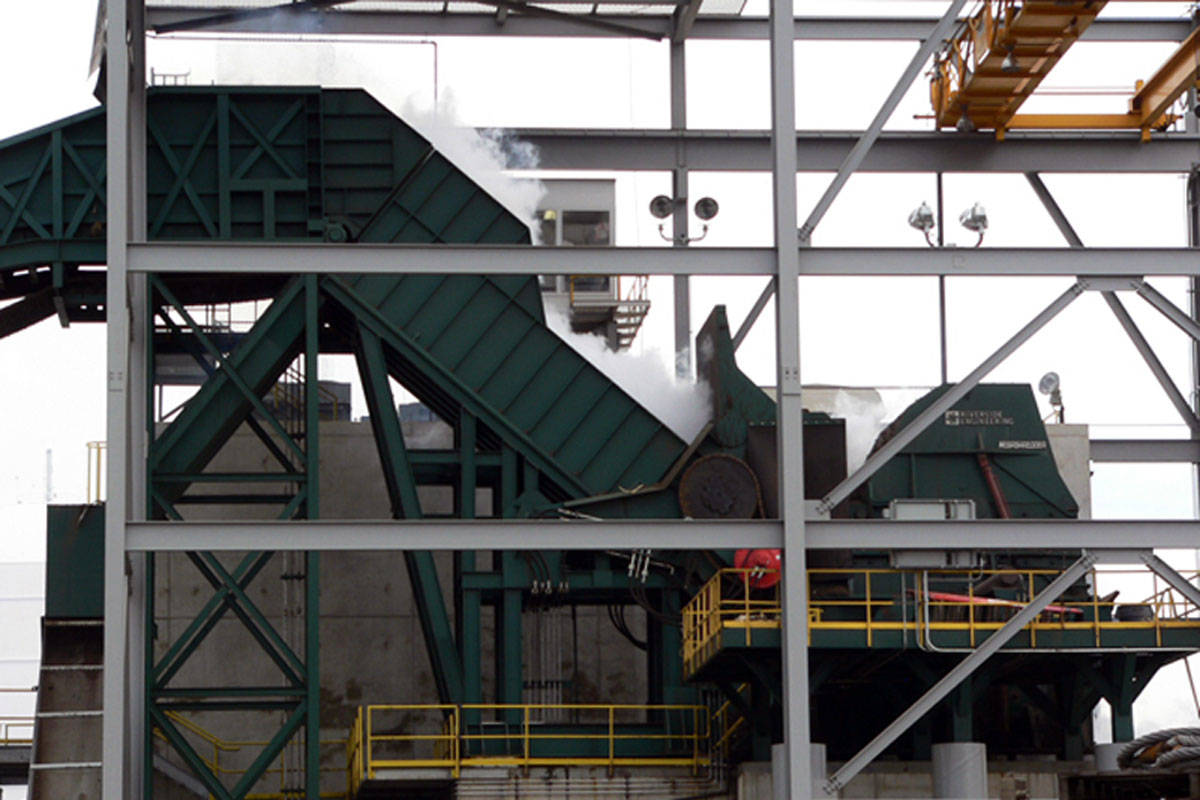 Structural steel supporting the massive Riverside Engineering Turbo Shredder