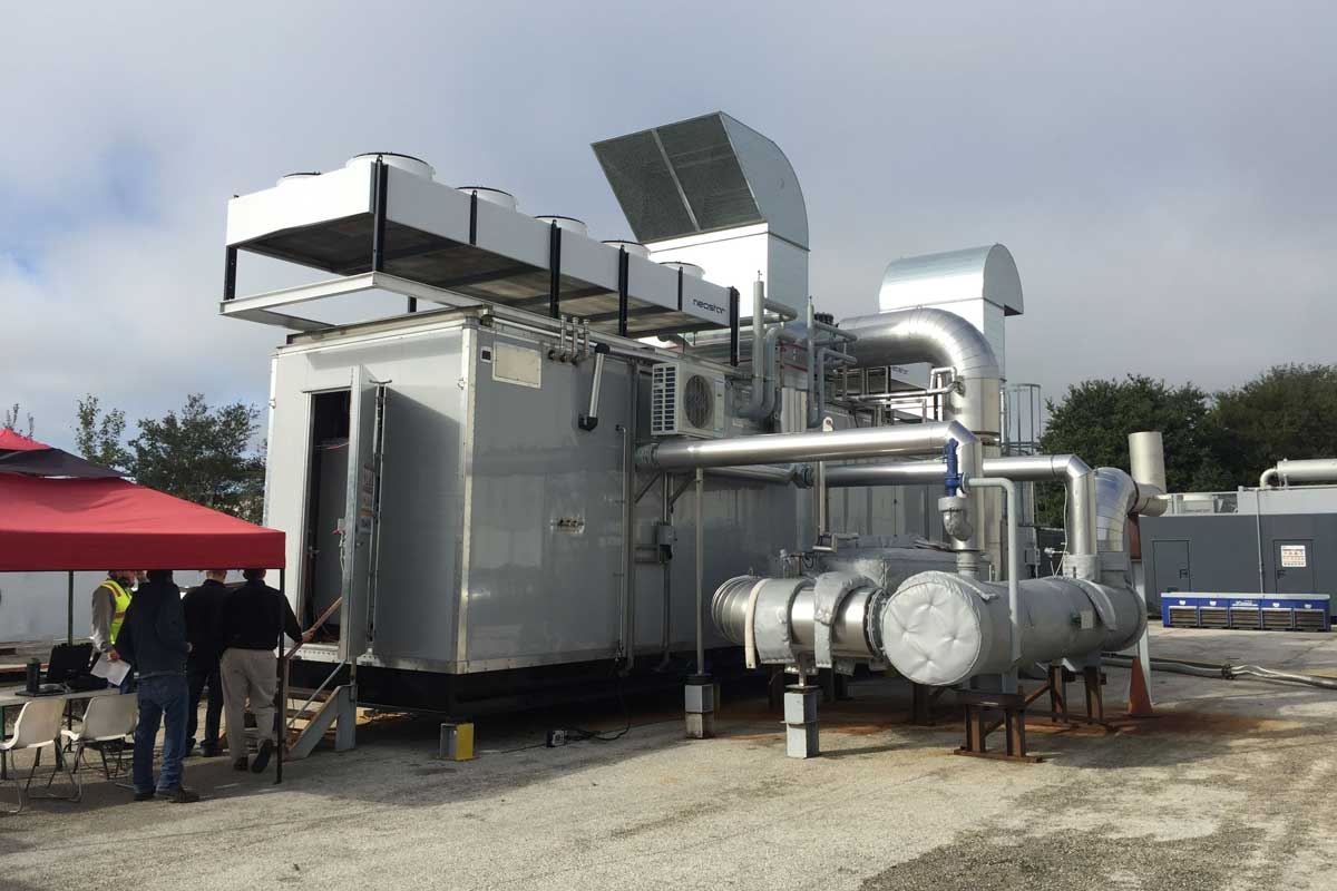Another view of the CHP unit during testing
