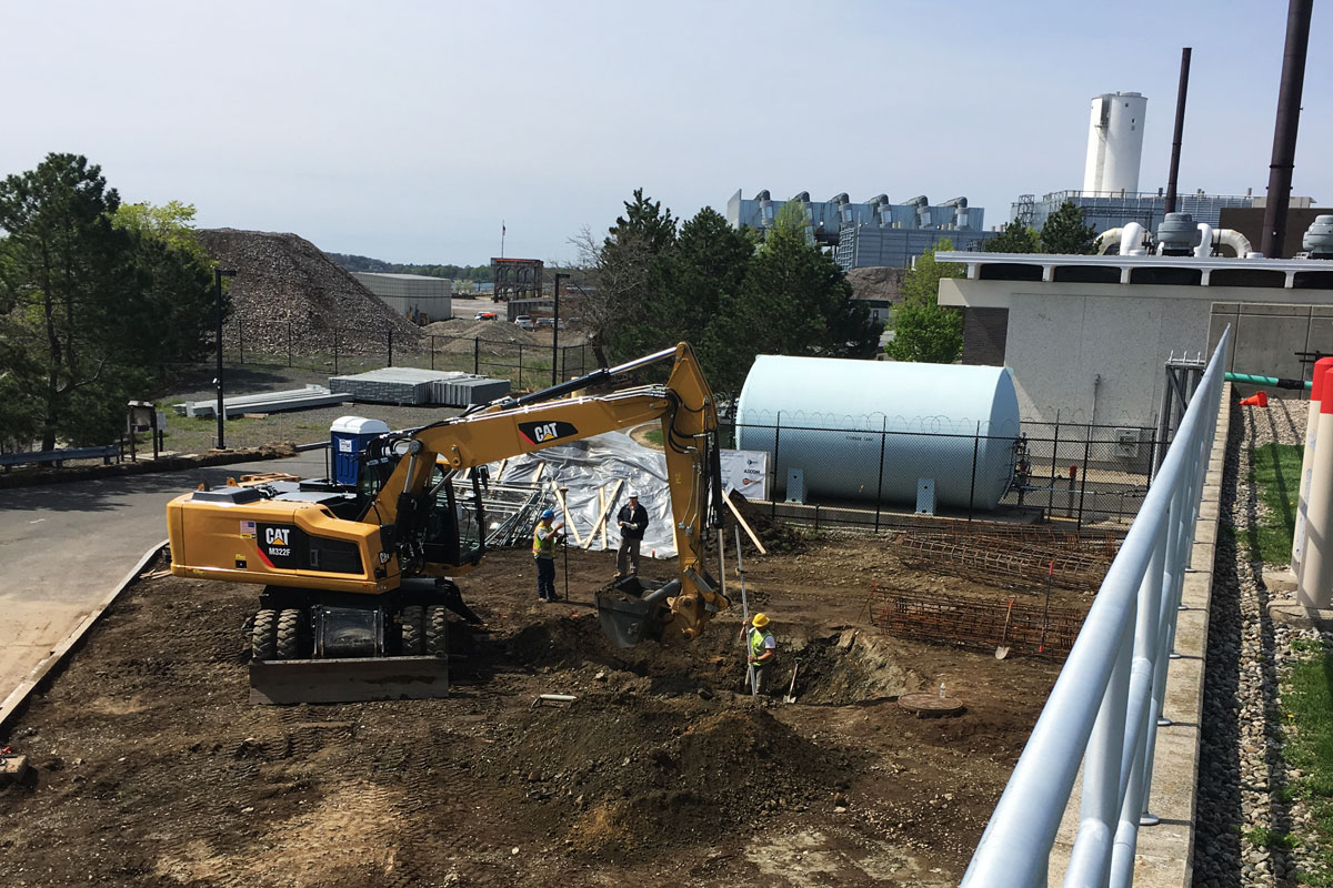 Excavating the area where the new Combined Heat & Power (CHP) unit will be located