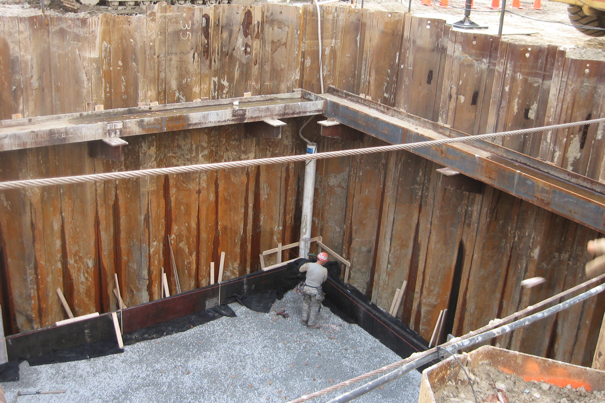Excavation for the aerated grit removal building at the Fitchburg, MA wastewater treatment facility