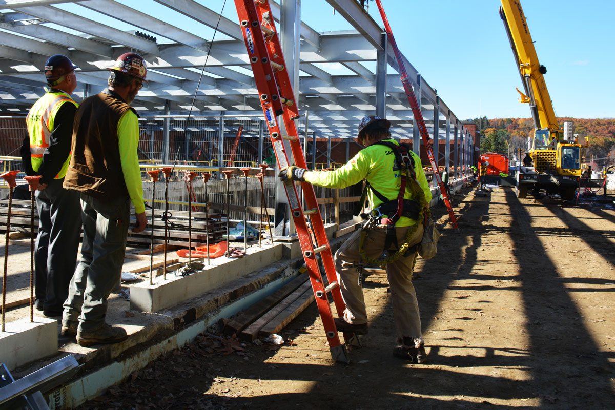 Preparing to finish the structural steel framework