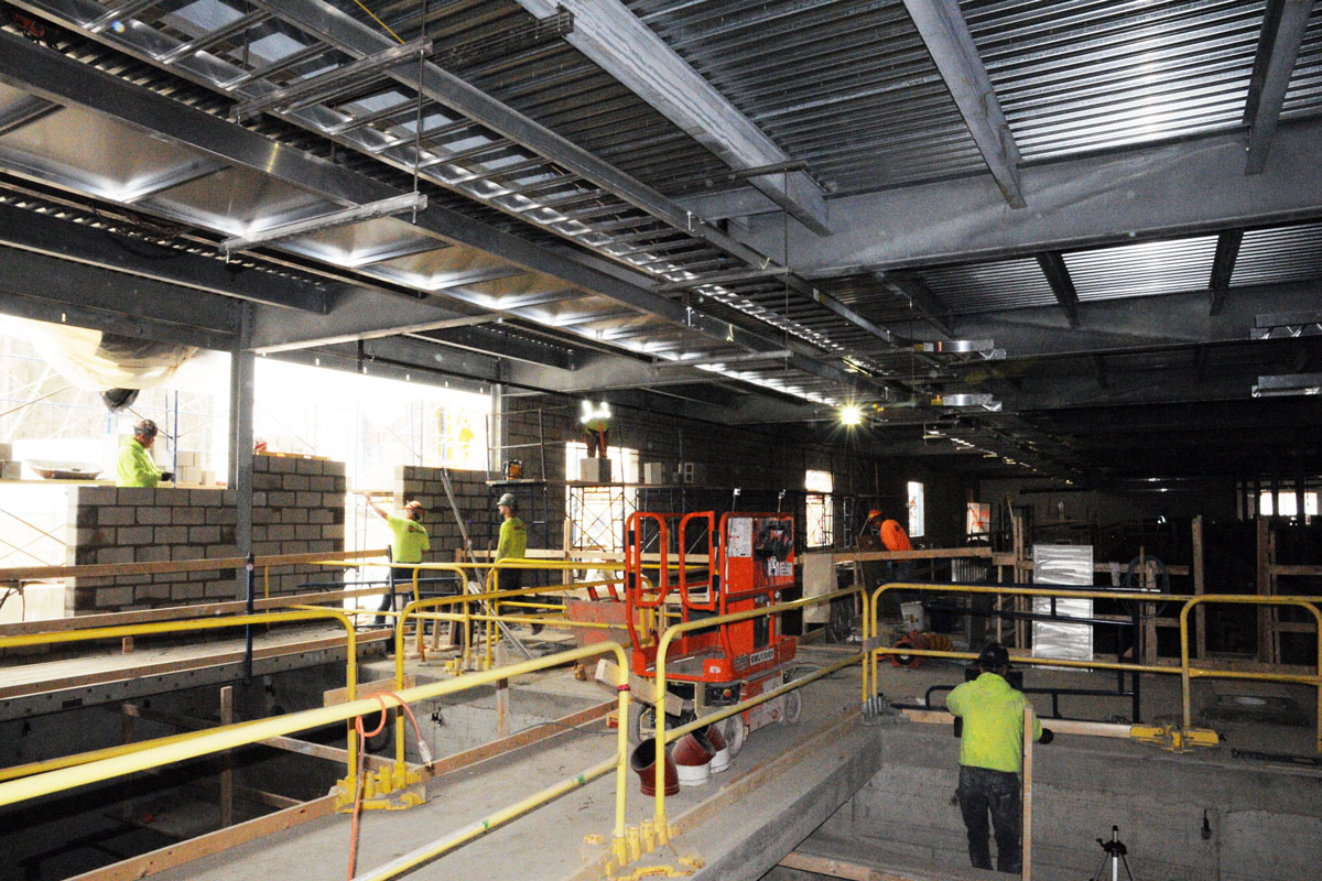 Progress on the interior of the water treatment building