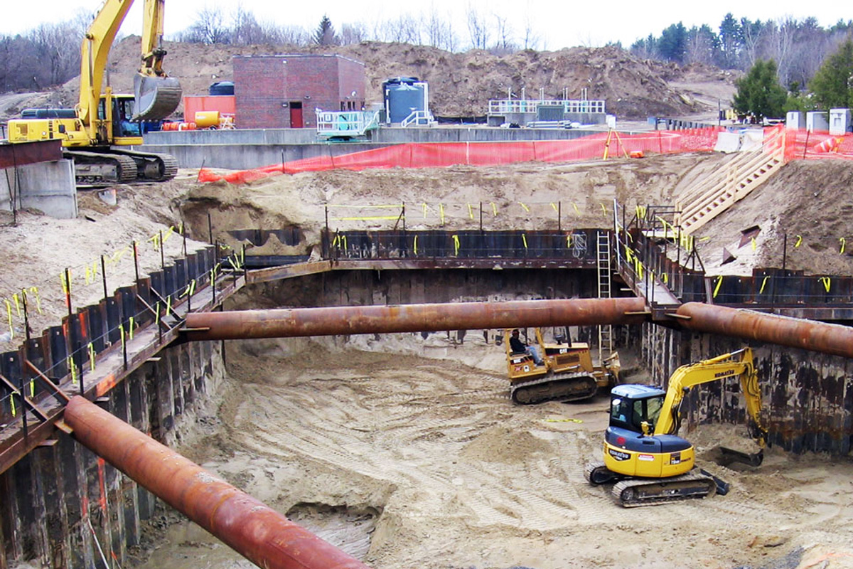 The project required a properly secured fifty-five foot deep excavation