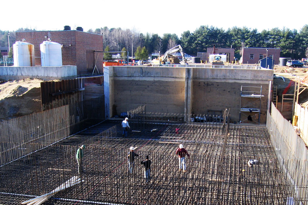 Constructing the foundation for the new influent pump station