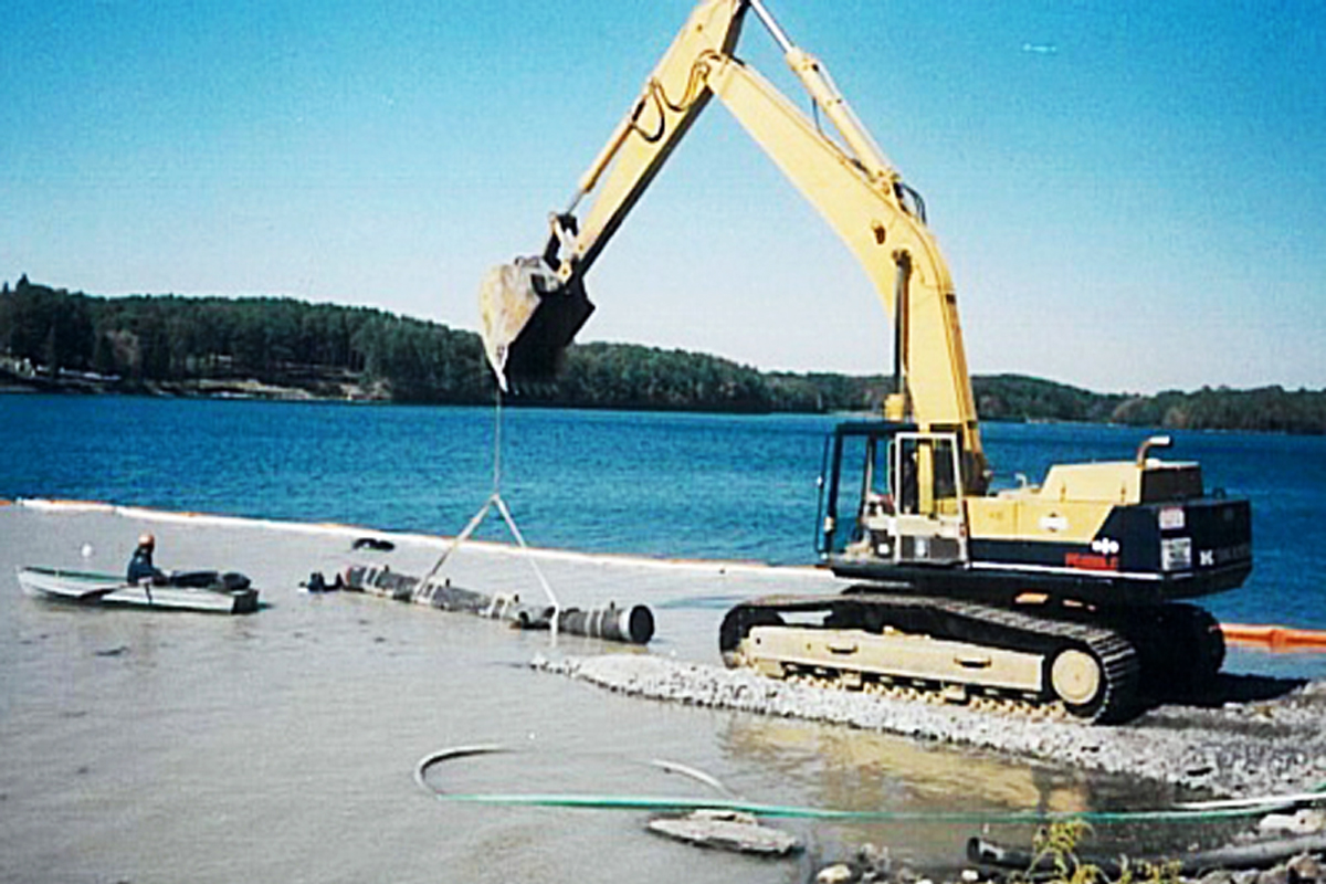 Laying the raw water intake line for the water treatment facility