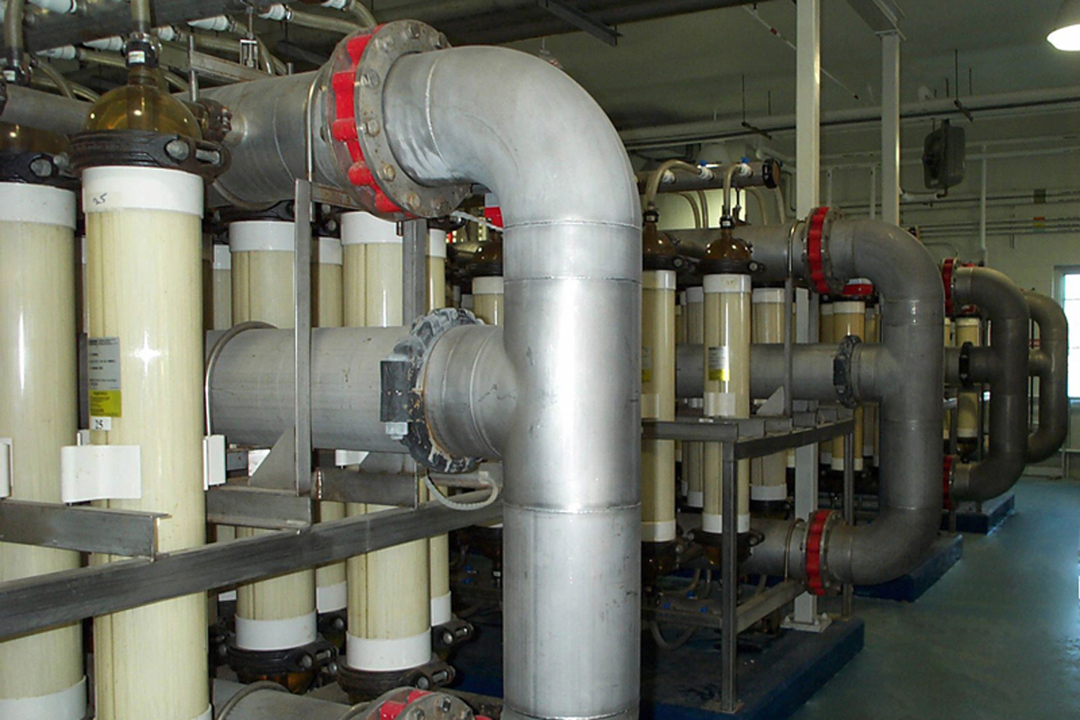 Piping and filtration equipment inside the new water treatment facility