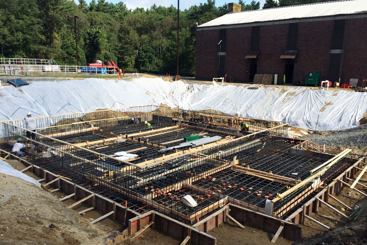 Construction of the new control building for the water pollution control project in Middleborough, MA