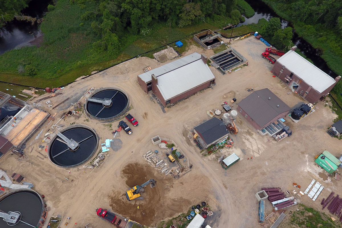 Aerial photo of the Middleborough wastewater treatment Plant during construction