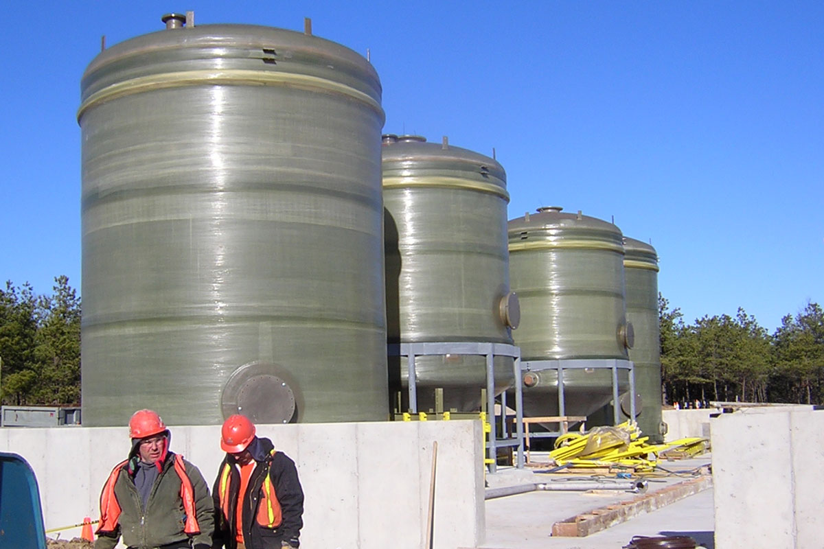 Constructing the water treatment tanks outside