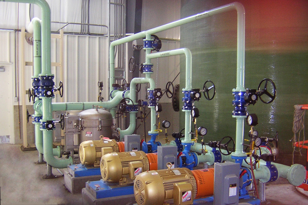 Water treatment pumps inside the new ETR facility